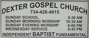 dexter gospel church baker road sign img